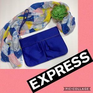 Express Royal Blue Satin Wristlet Purse